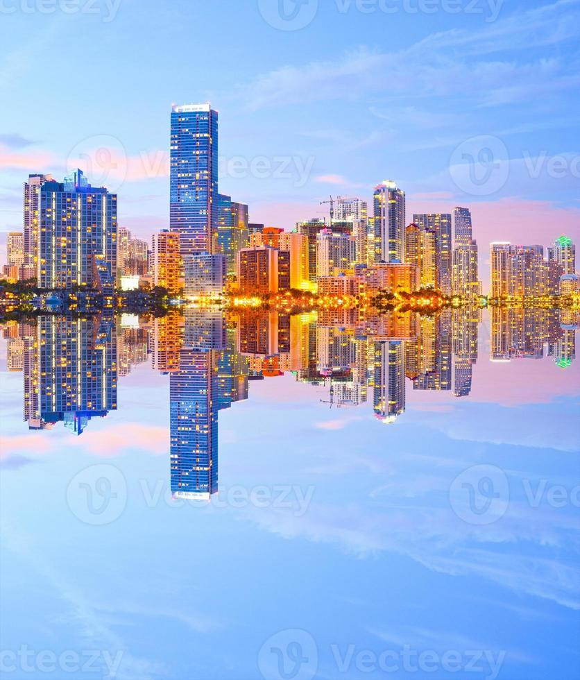 City of Miami Florida, night skyline photo