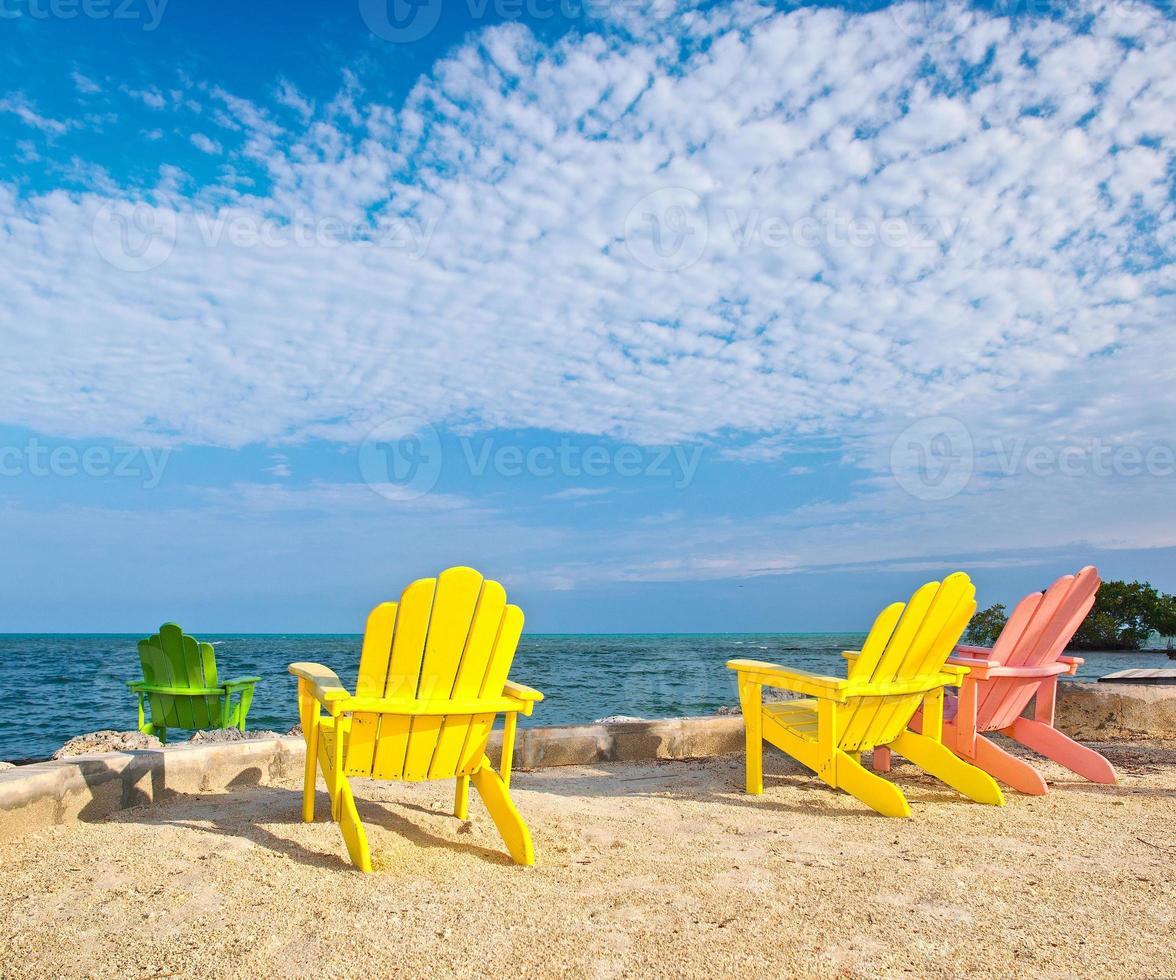 Florida beach lounge chairs photo