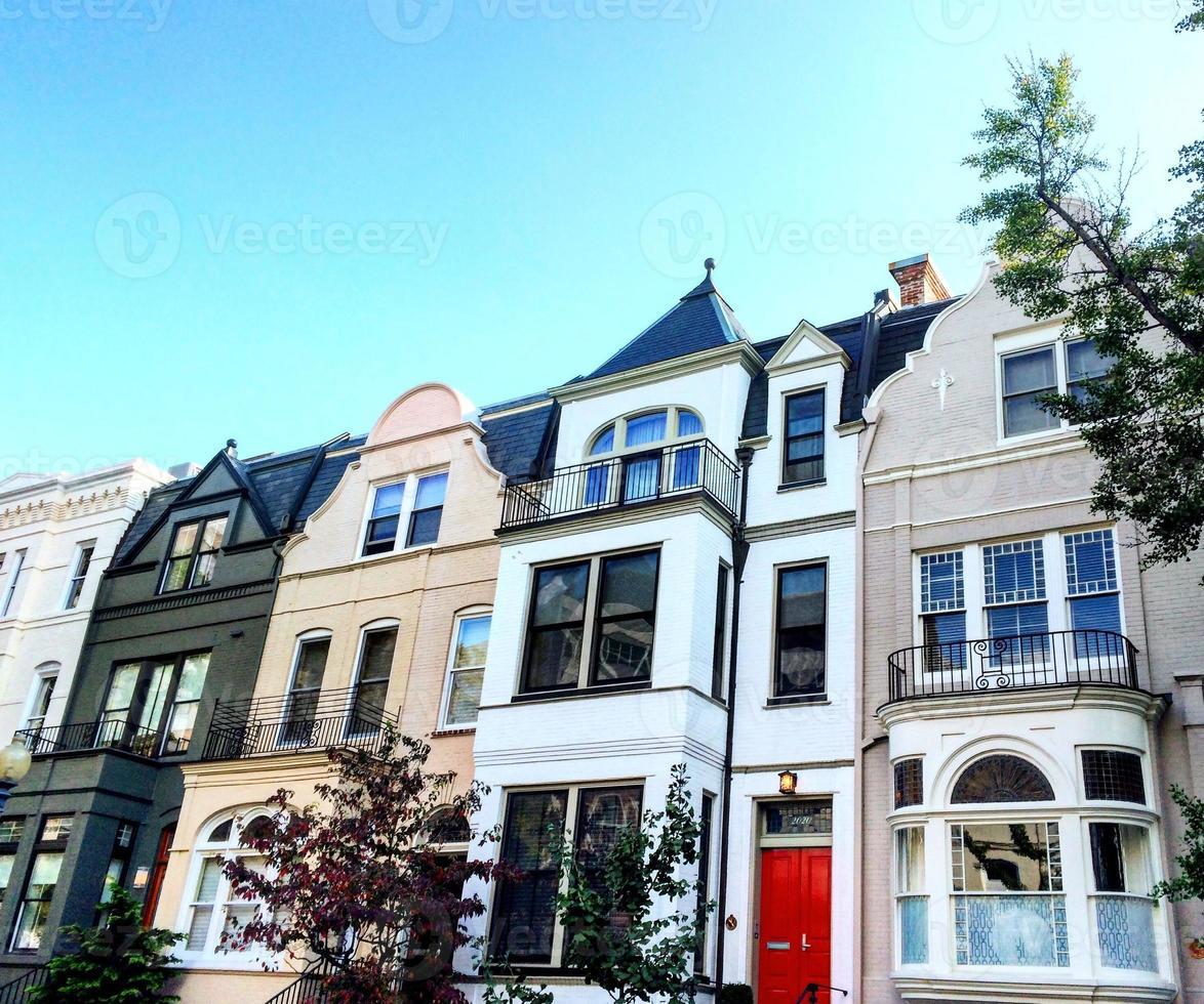Colorful neighborhood homes in Washington, DC photo