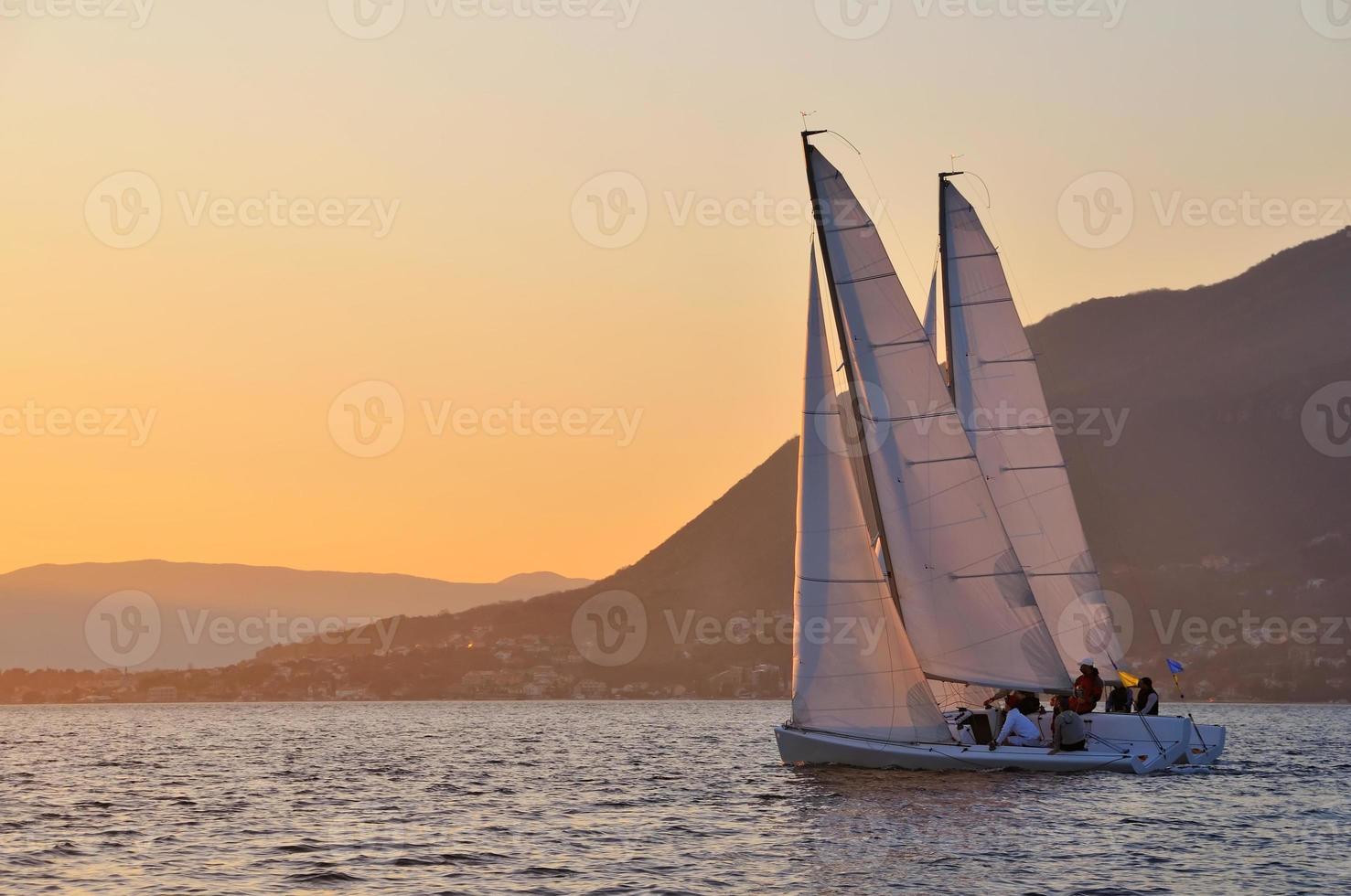Race on sunset photo