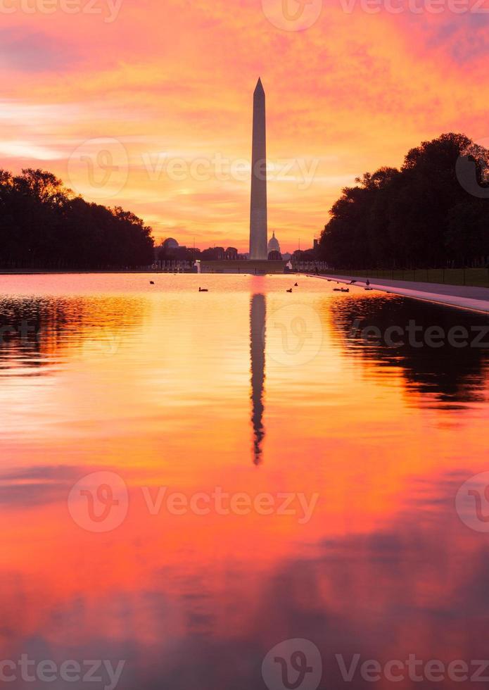 Brilliant sunrise over reflecting pool DC photo