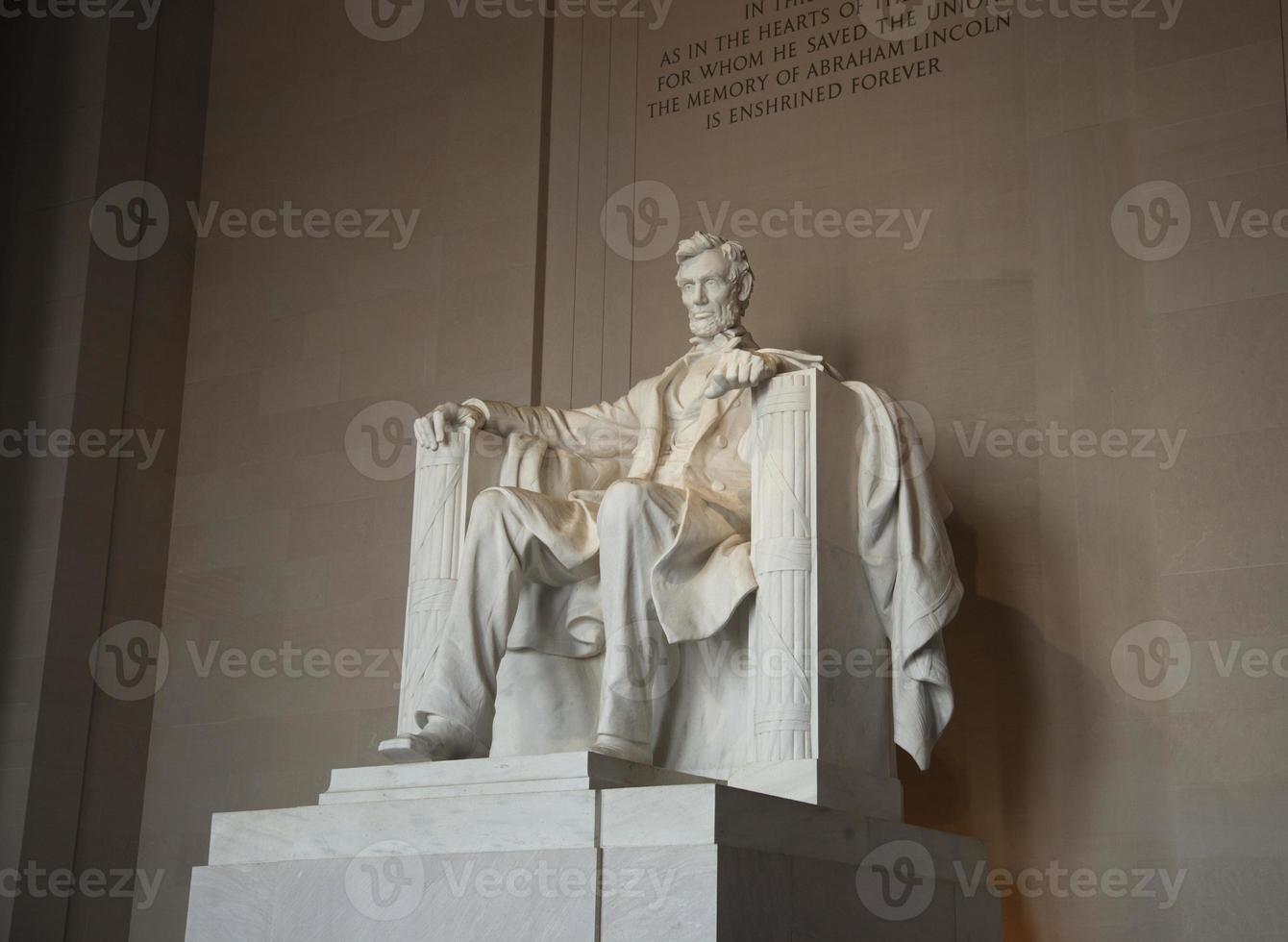 Statue of Abraham Lincoln at the memorial in his honor photo