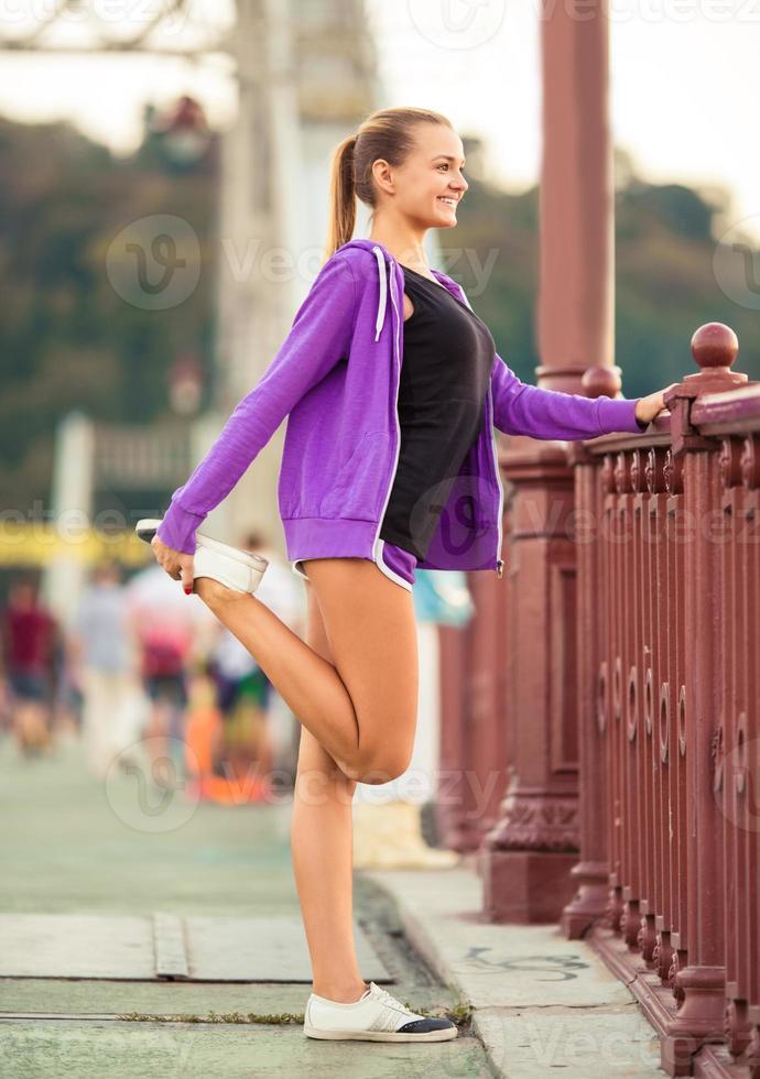 Girl Running town photo