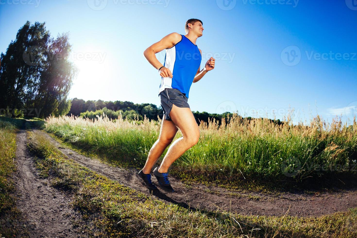 Running in countryside photo