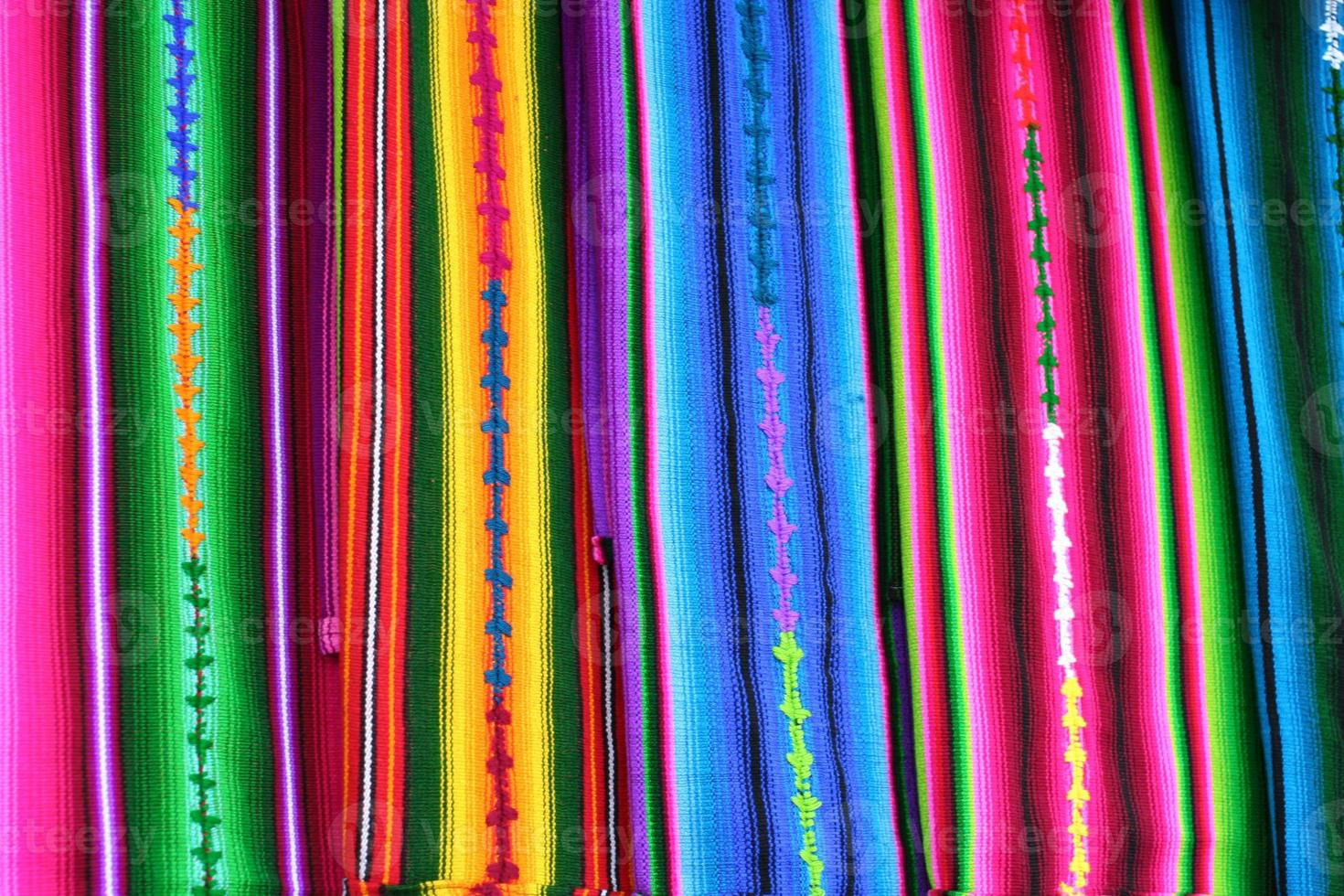 Colorful Guatemala Mayan Textiles in Antigua Market photo