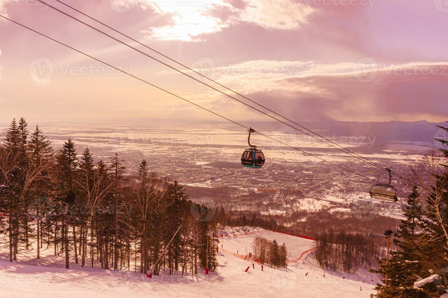 Cabin moving on ski lift photo