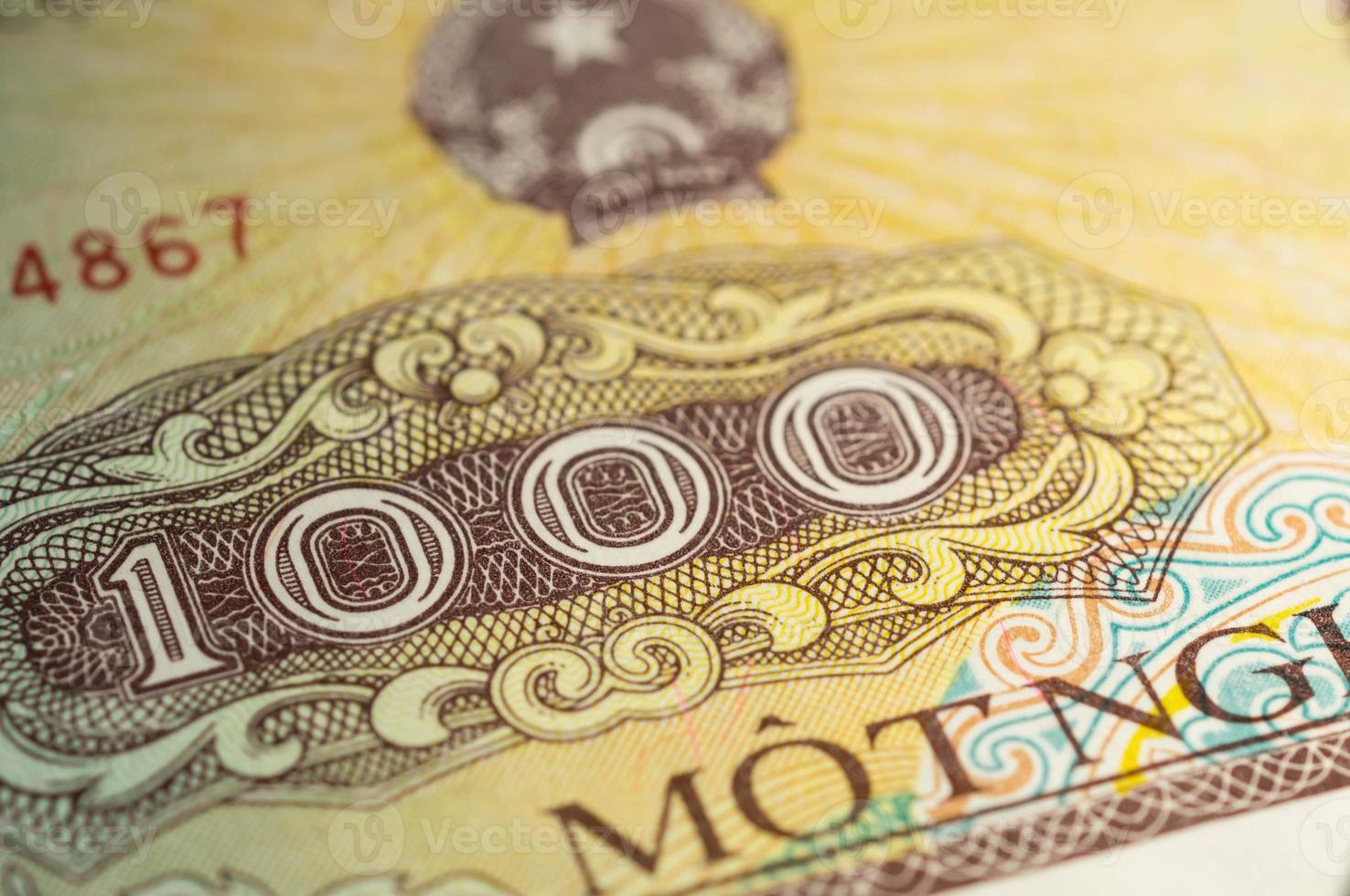 billete de banco en mil dong vietnamita de cerca foto