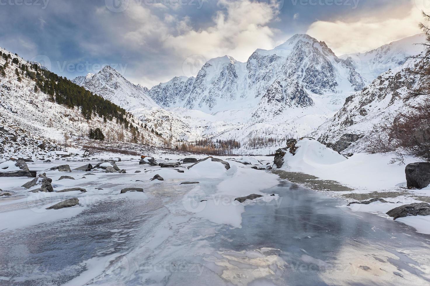 Beautiful winter landscape, Altai mountains Russia. photo