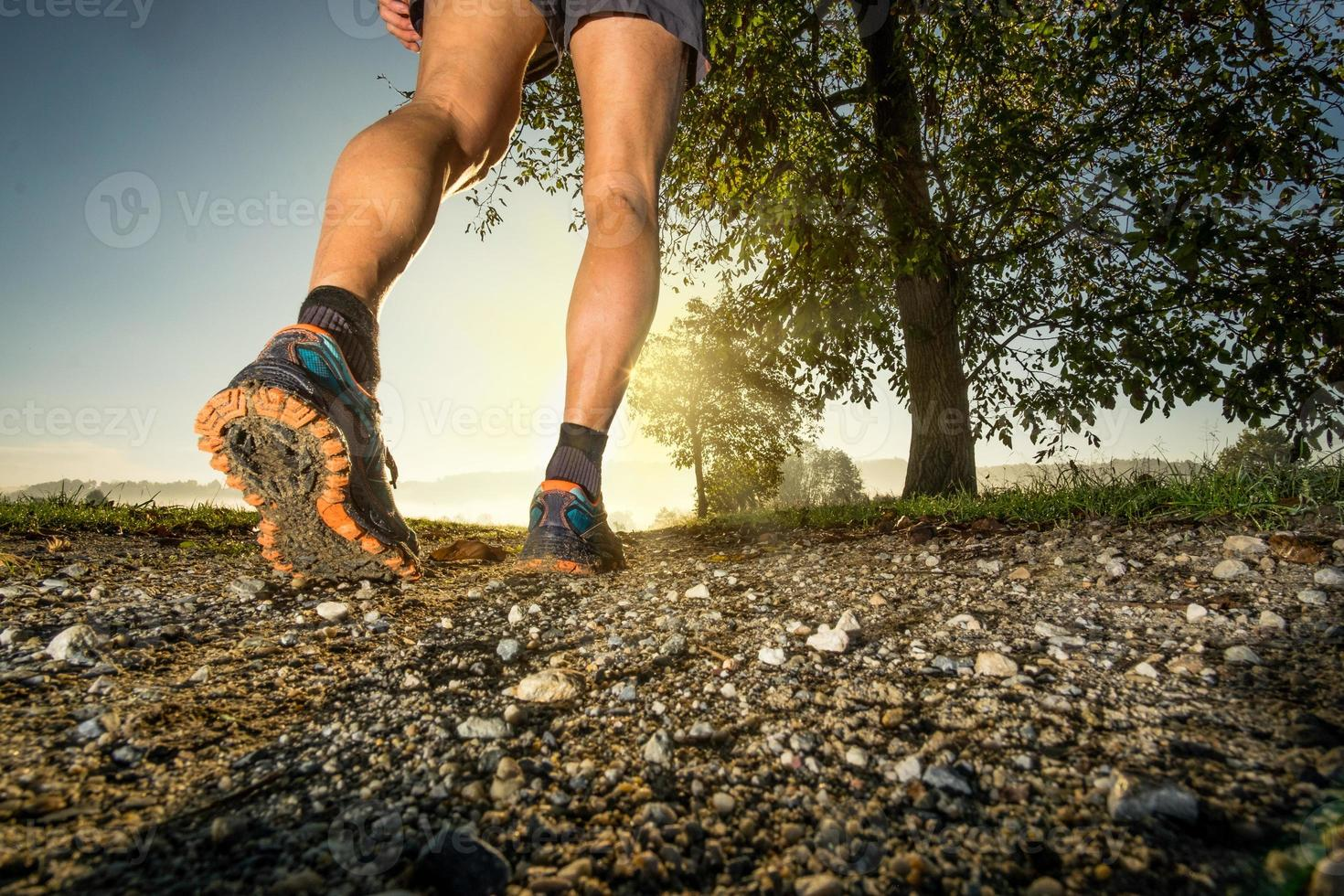 Clos up on shoes of man running in the countryside photo
