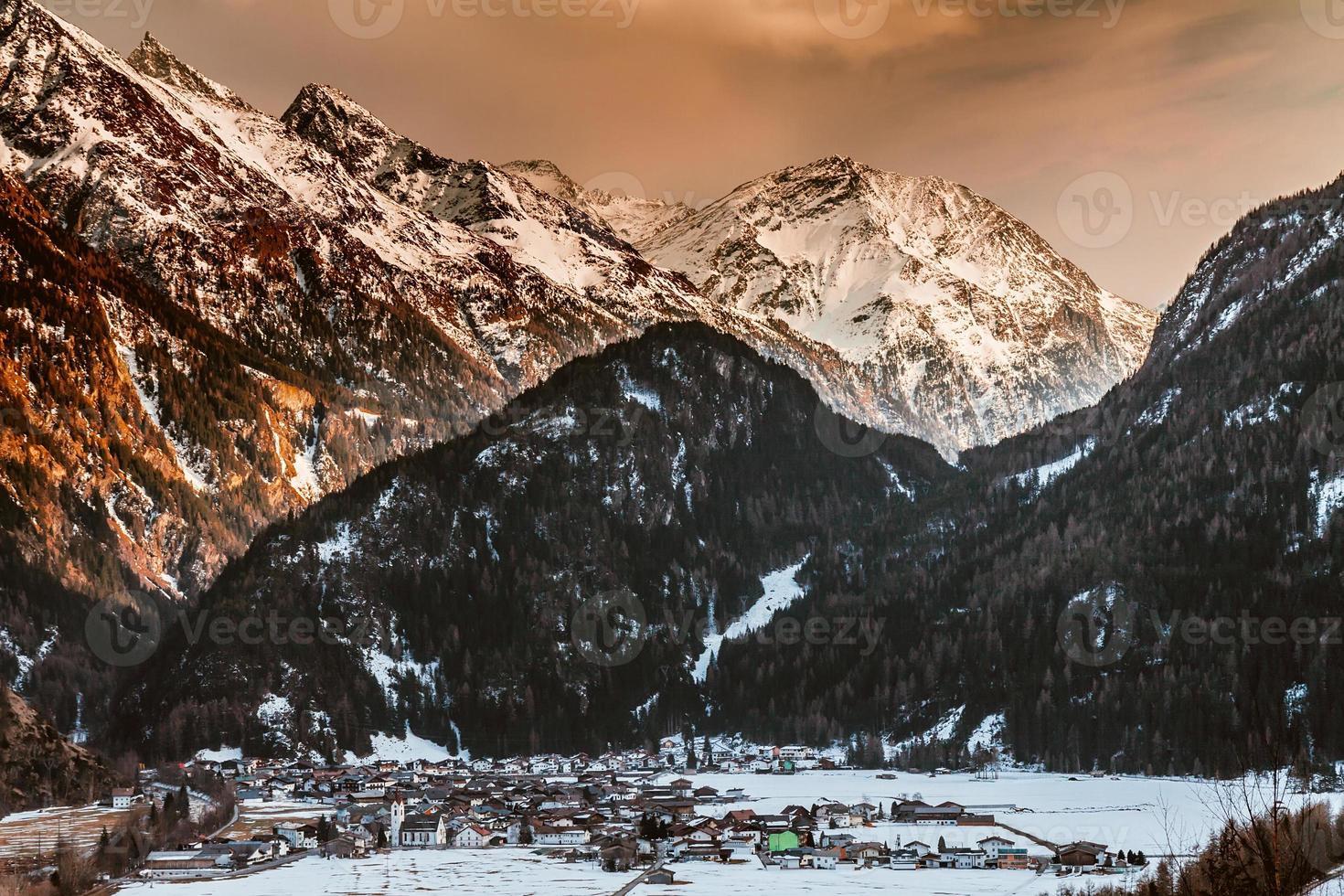 Winter snow mountain valley Austrian alps photo