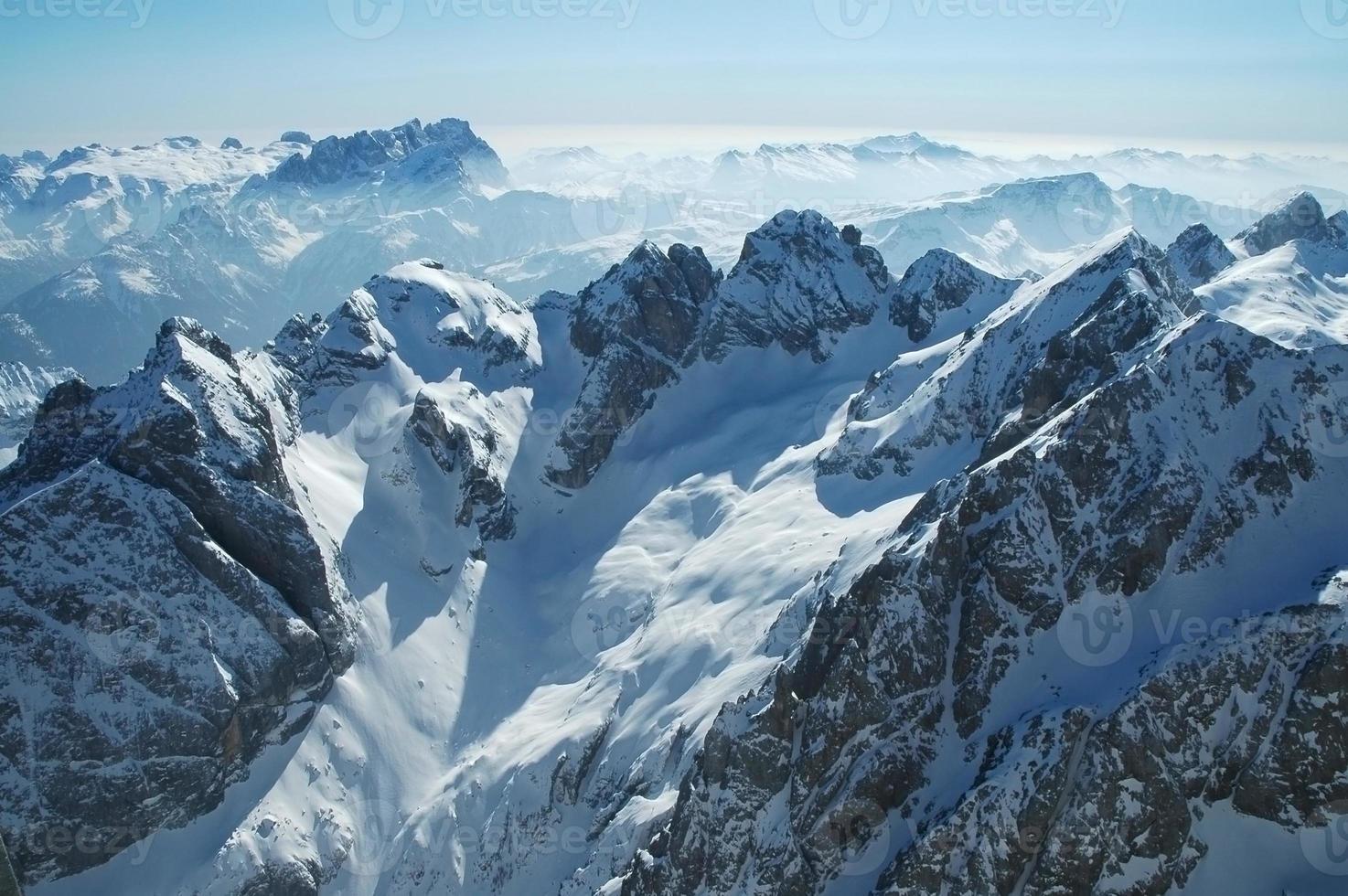 Dolomites mountains at winter, ski resort in Italy photo