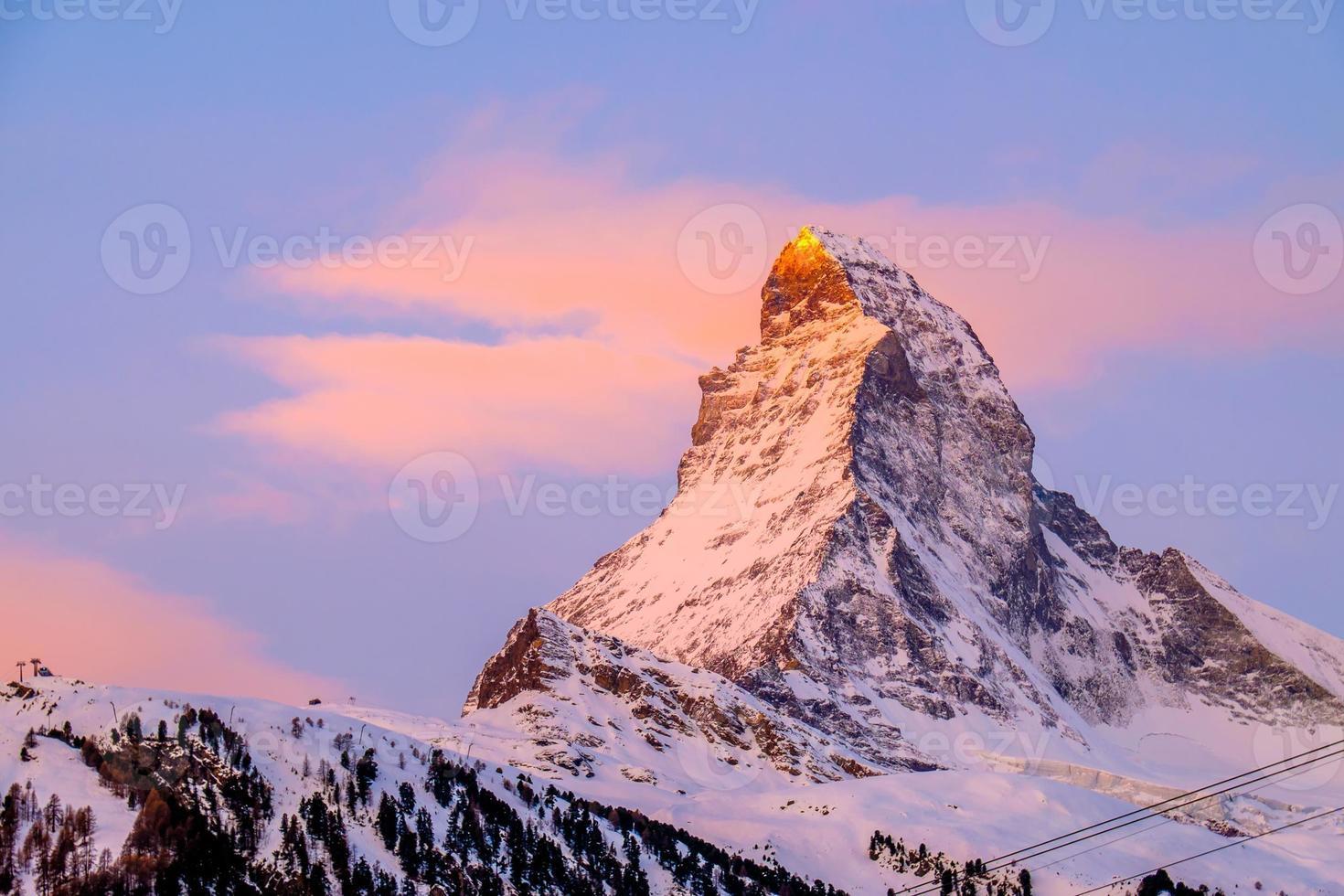 Amazing Matterhorn with Zermatt city, Switzerland photo