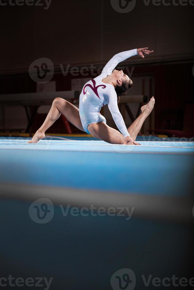 portrait of young gymnasts competing in the stadium photo