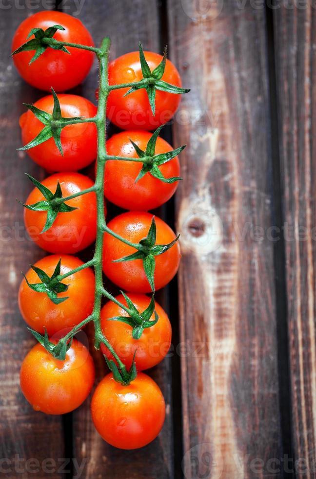Ripe fresh cherry tomatoes photo