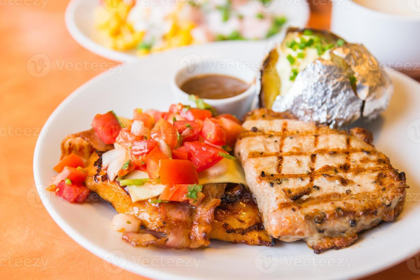 Grilled pork steak photo