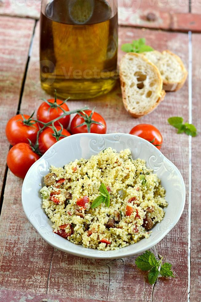 Fresh Arabian tabouleh, tabbouleh with couscous photo
