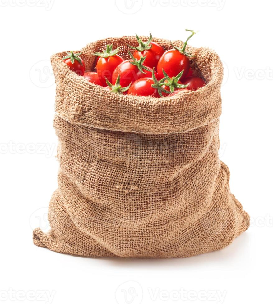 Tomatoes in canvas bag photo