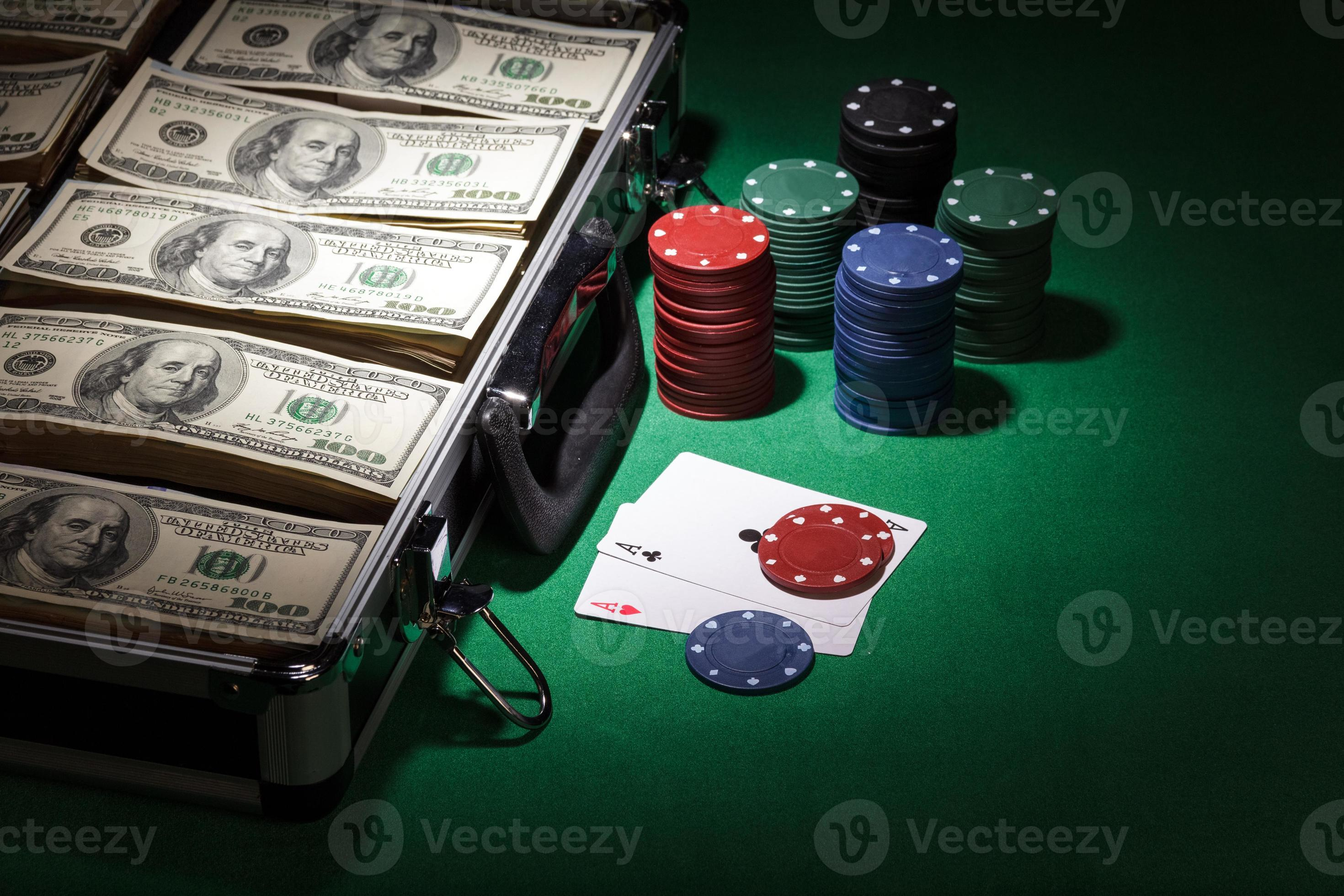 Poker Chips And Dollar Bills Stock Photo