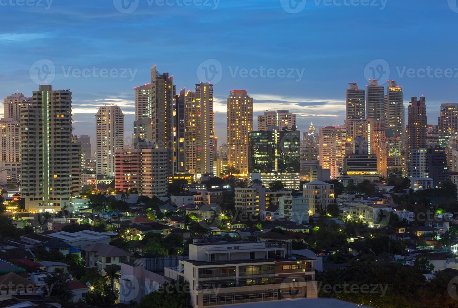Bangkok Cityscape, business district  during twilight time , Bangkok, Thailand photo