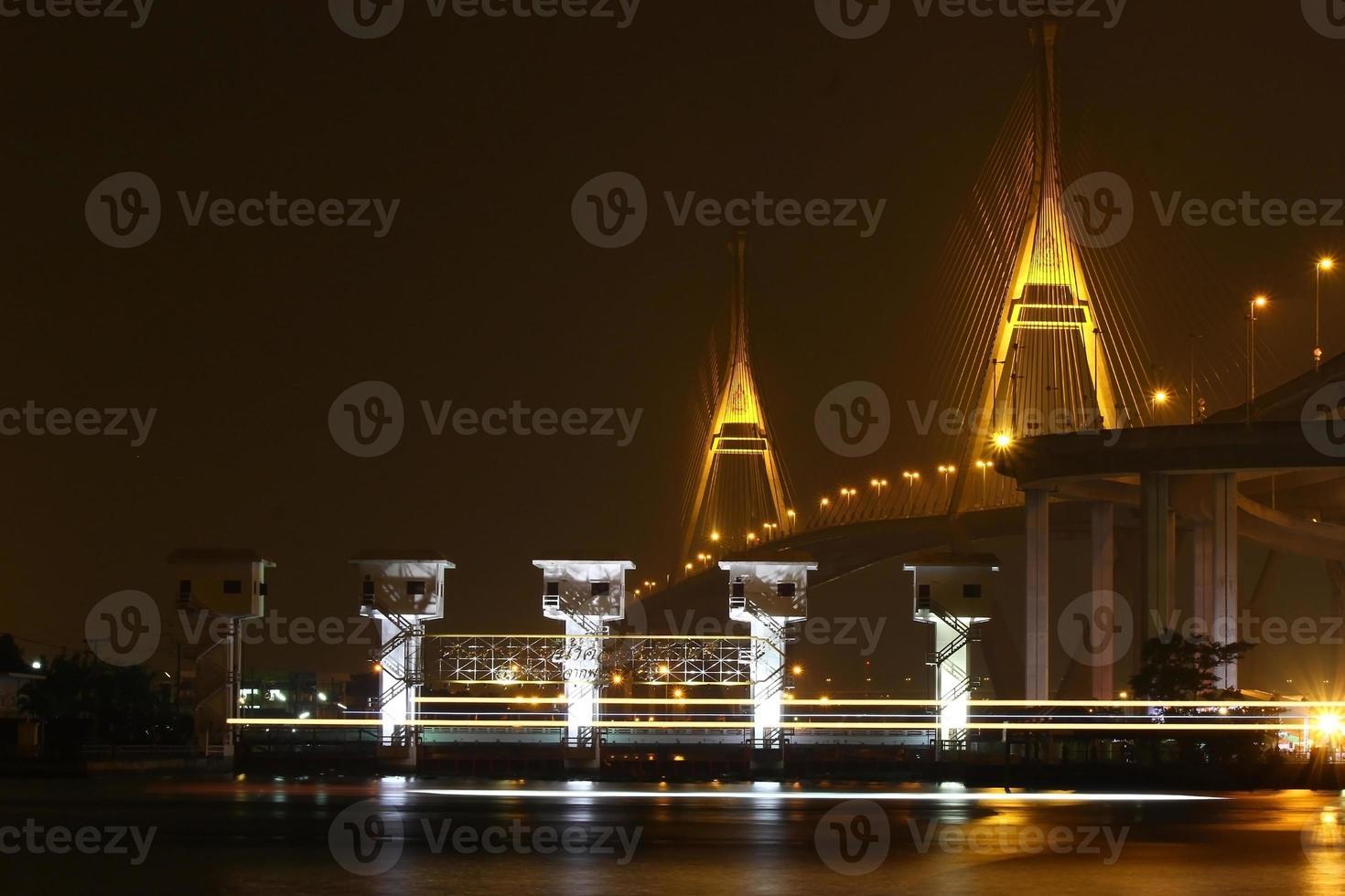 Bridge lights at night. photo