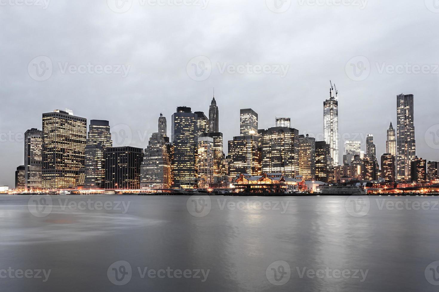 New York City Financial District Skyline at Twilight photo