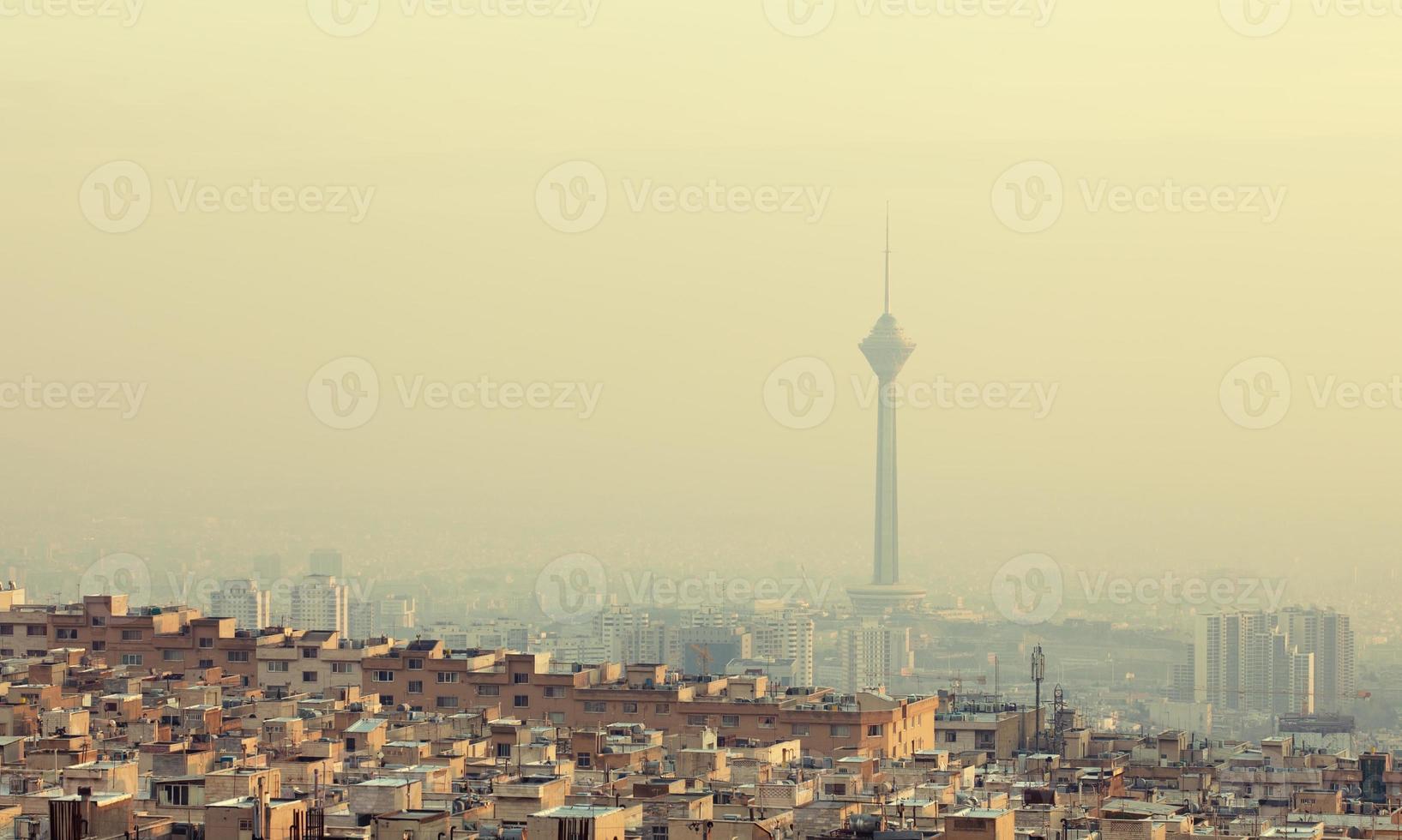 Buildings in Front of Milad Tower in Skyline of Tehran photo