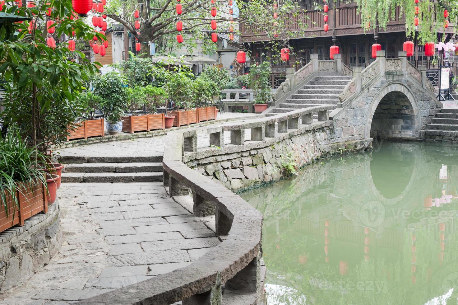 Chengdu - Jinli traditional bridge and chinese lantern photo