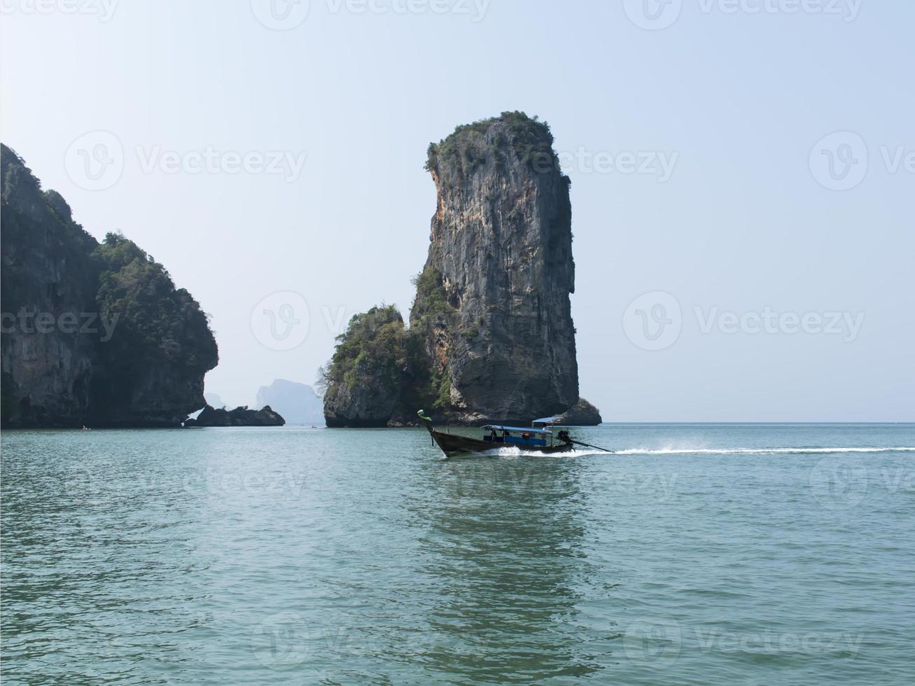 Aonang Beach Boat. Coastal Line. photo