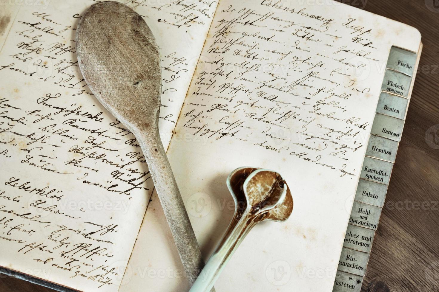 Old recipe book with two wooden spoons photo
