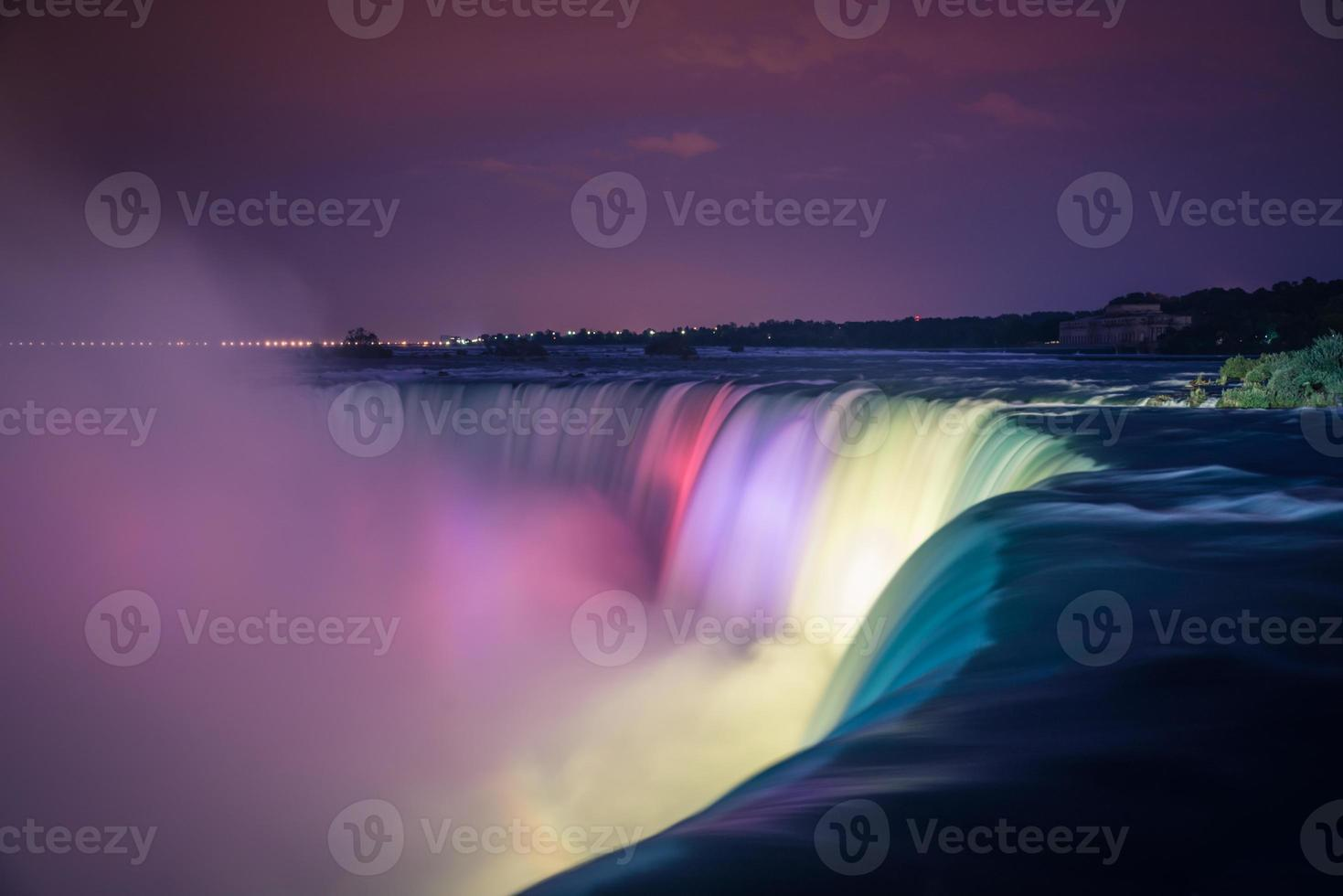 Niagara Falls at night with lights photo