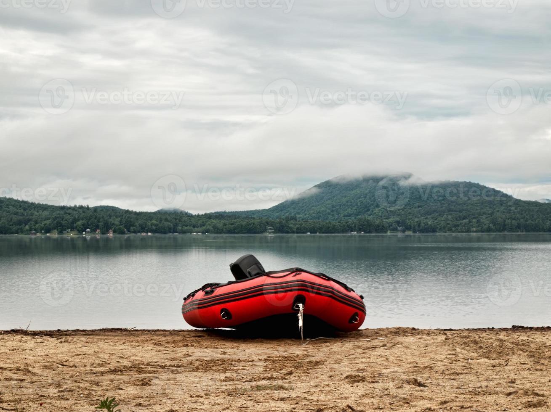 raft on a beach photo