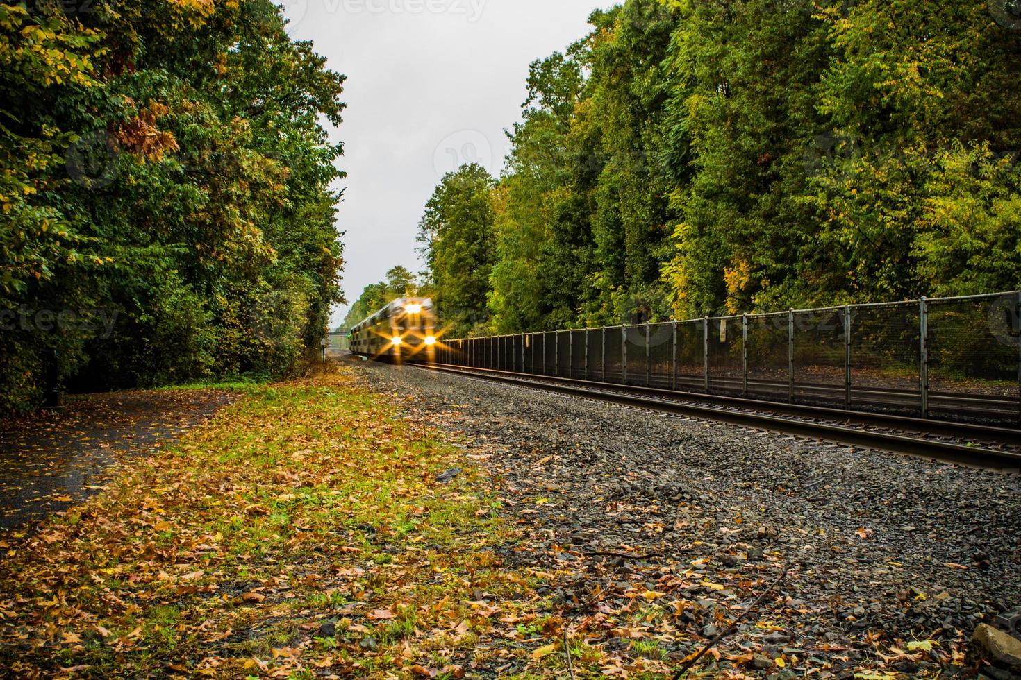 Moving train in the fall photo