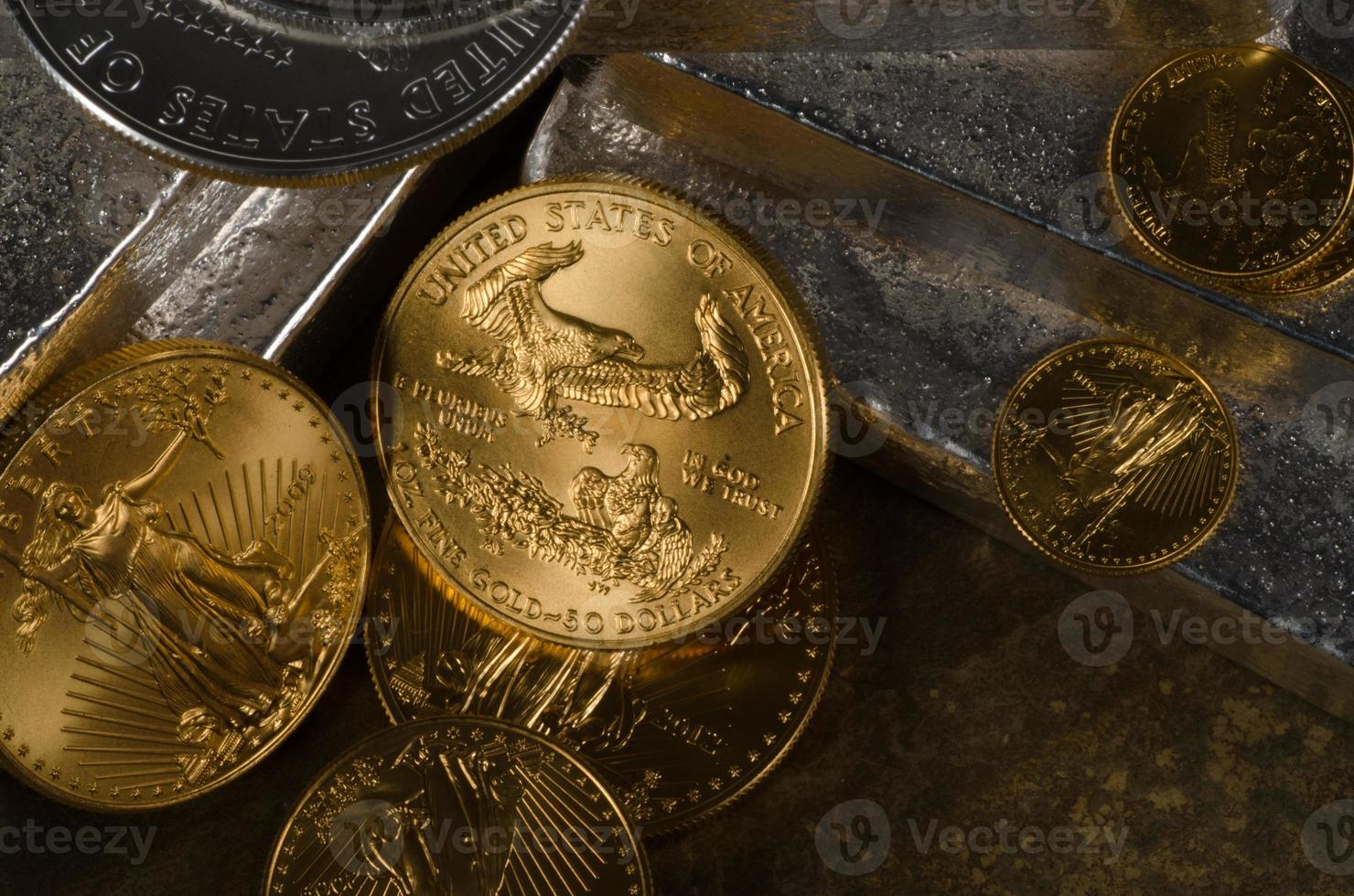 American Gold Eagle & Silver Eagle Coins with Silver Bars photo