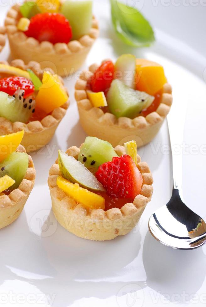 pastry cakes with fruit photo