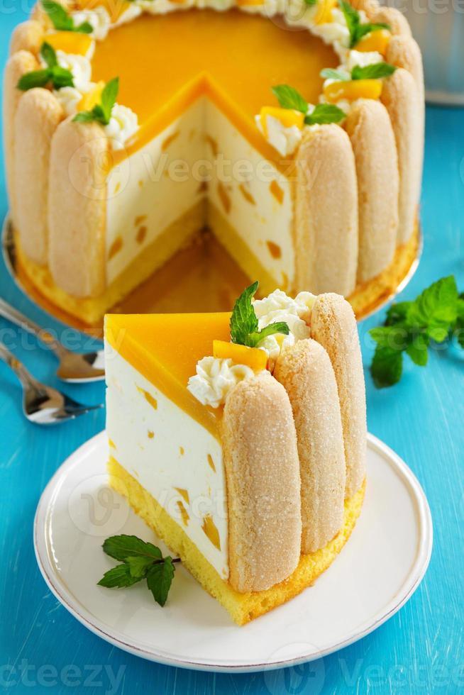 """delicioso bizcocho """"charlotte"""" con mango y duraznos. foto"""
