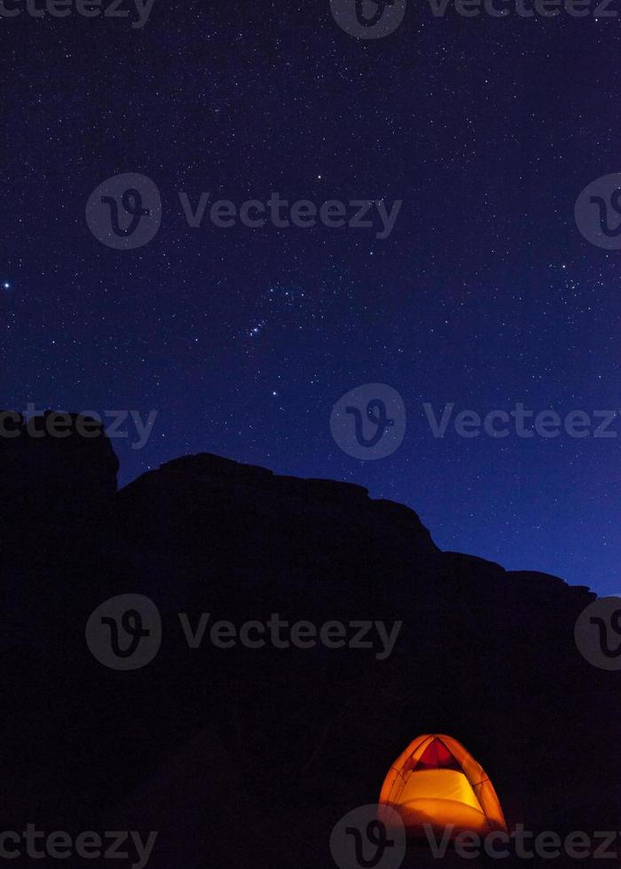 Tent and night sky in the Utah Desert photo
