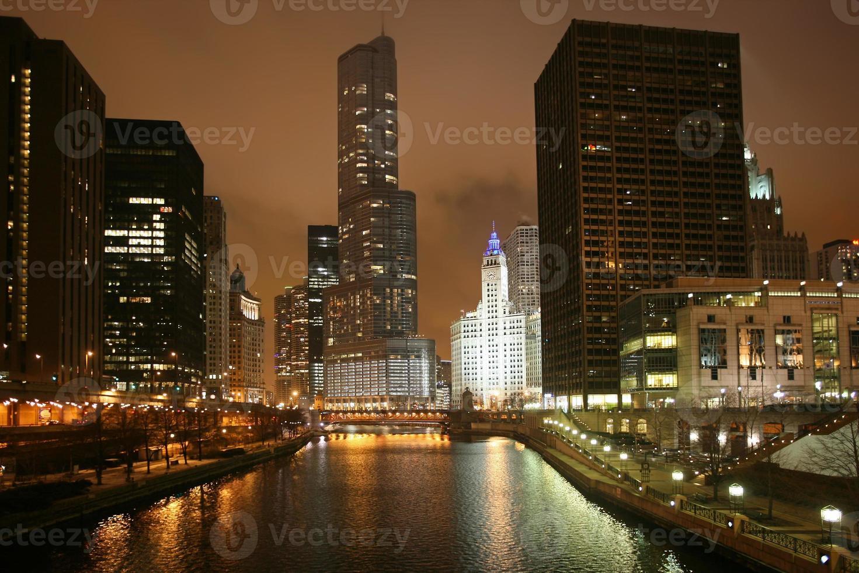 Night view of Chicago, USA photo