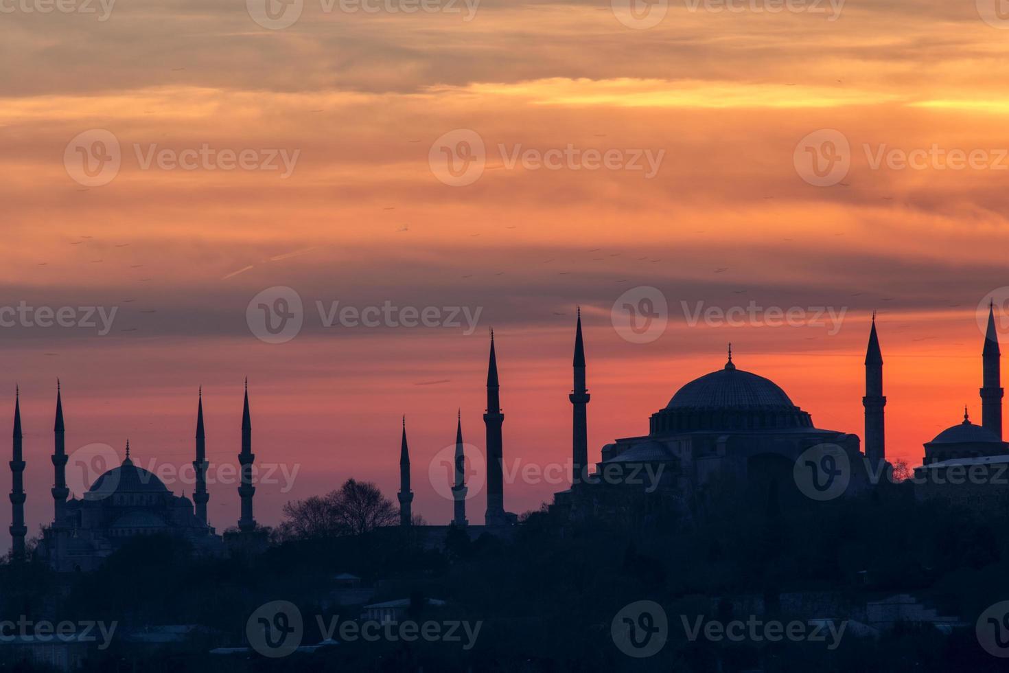 Blue mosque and Hagia Sofia photo