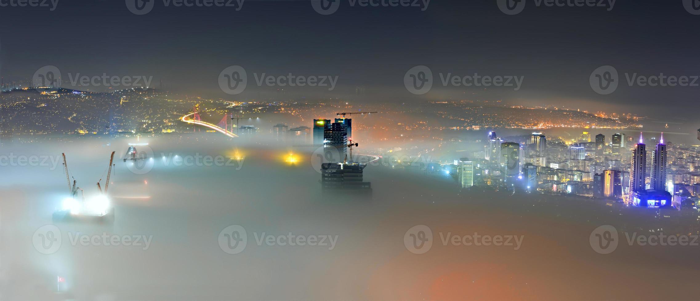 İstanbul night and fog.. photo