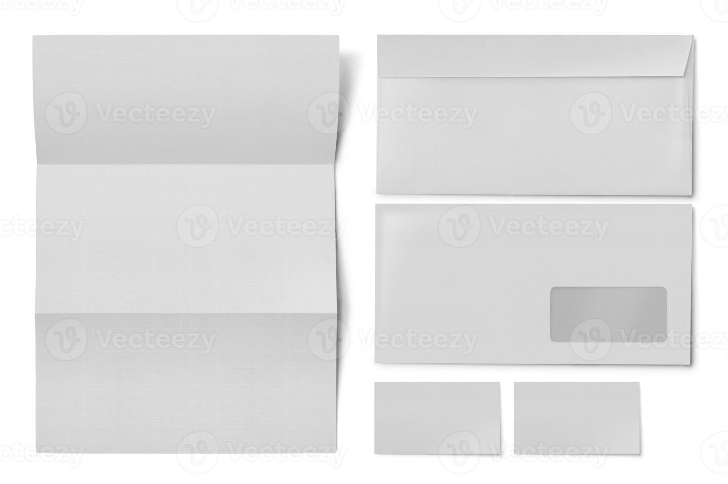 tarjetas de visita de papel blanco liso y sobre de ventana foto
