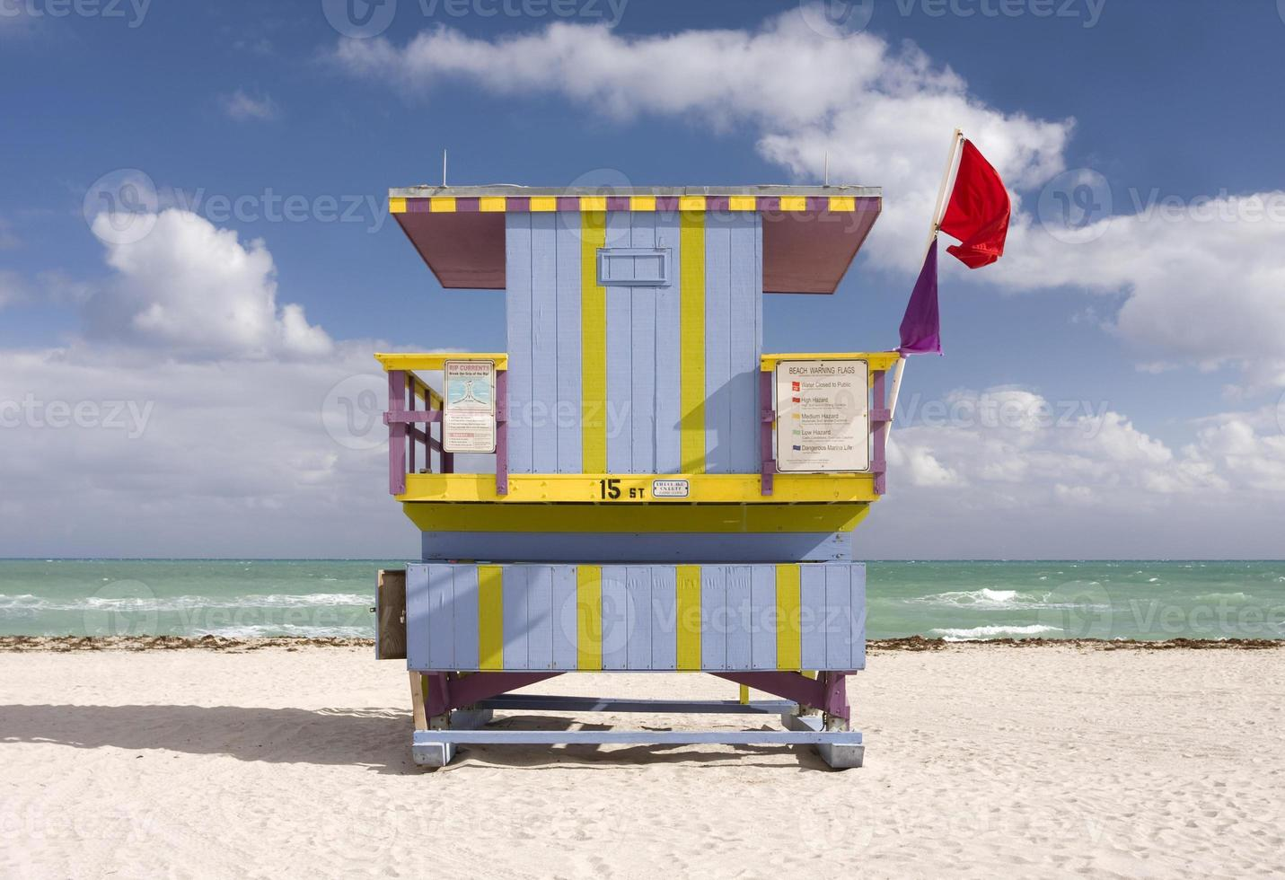 Summer scene with a lifeguard house in Miami Beach photo