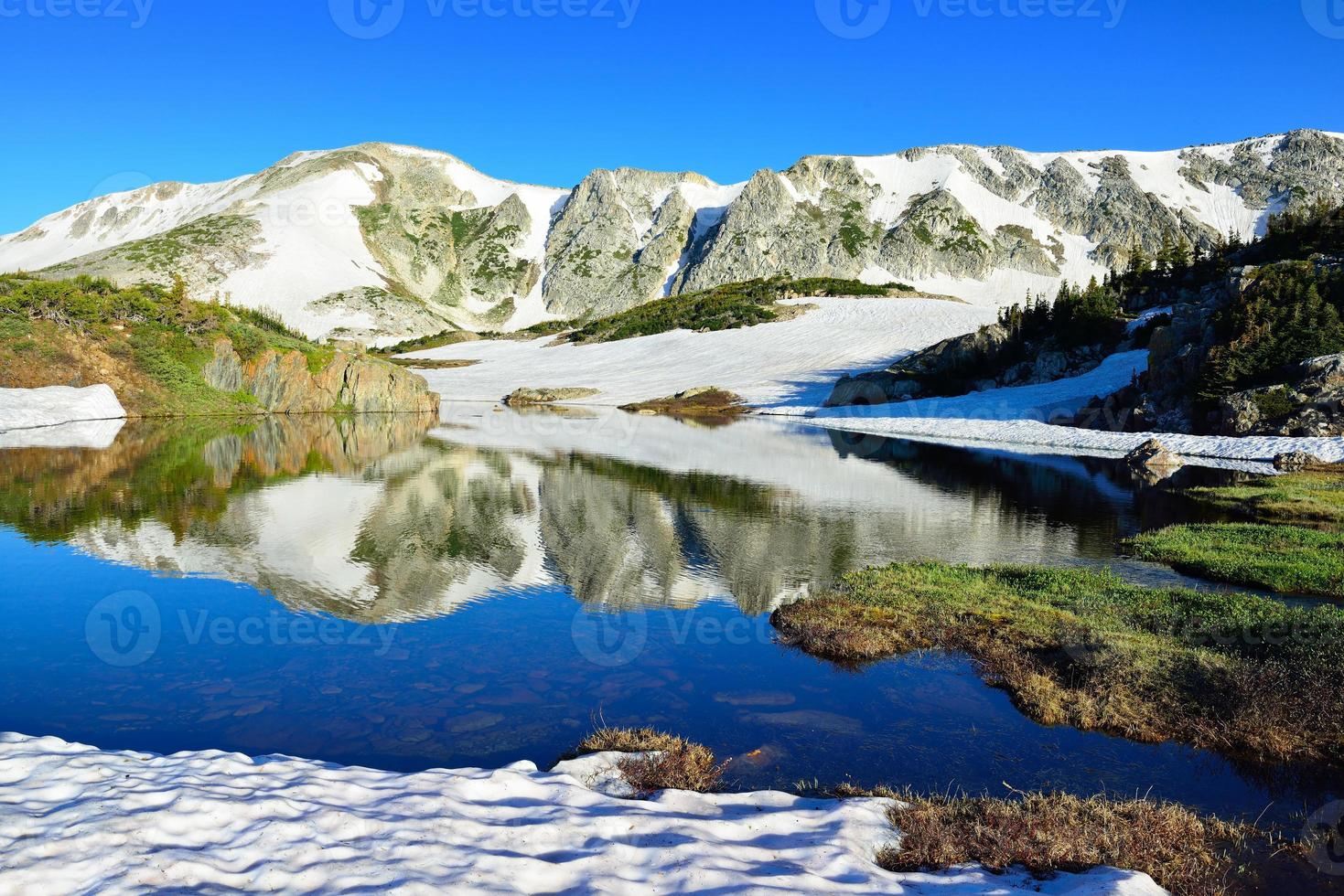 Snowy Range Mountains and alpine lake with reflection photo
