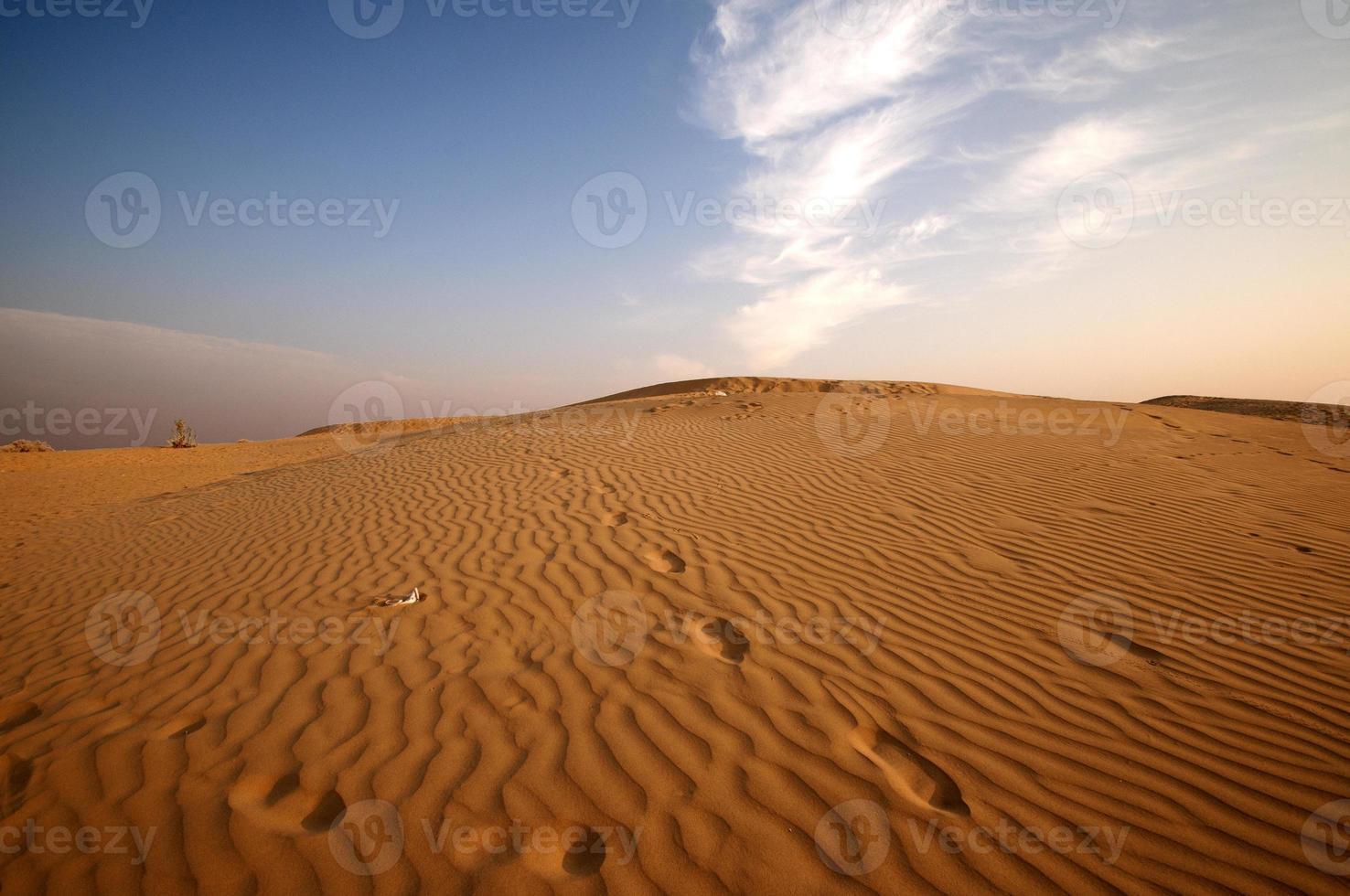 Rippled sand dunes at sunset photo