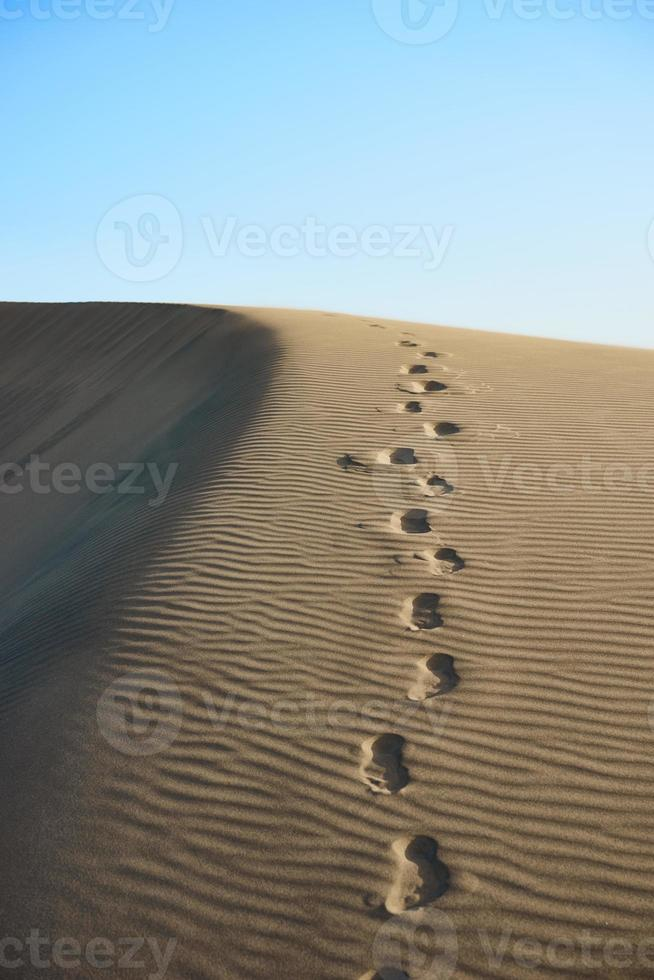 Footsteps in sand of wavy dunes in desert of Canaries photo