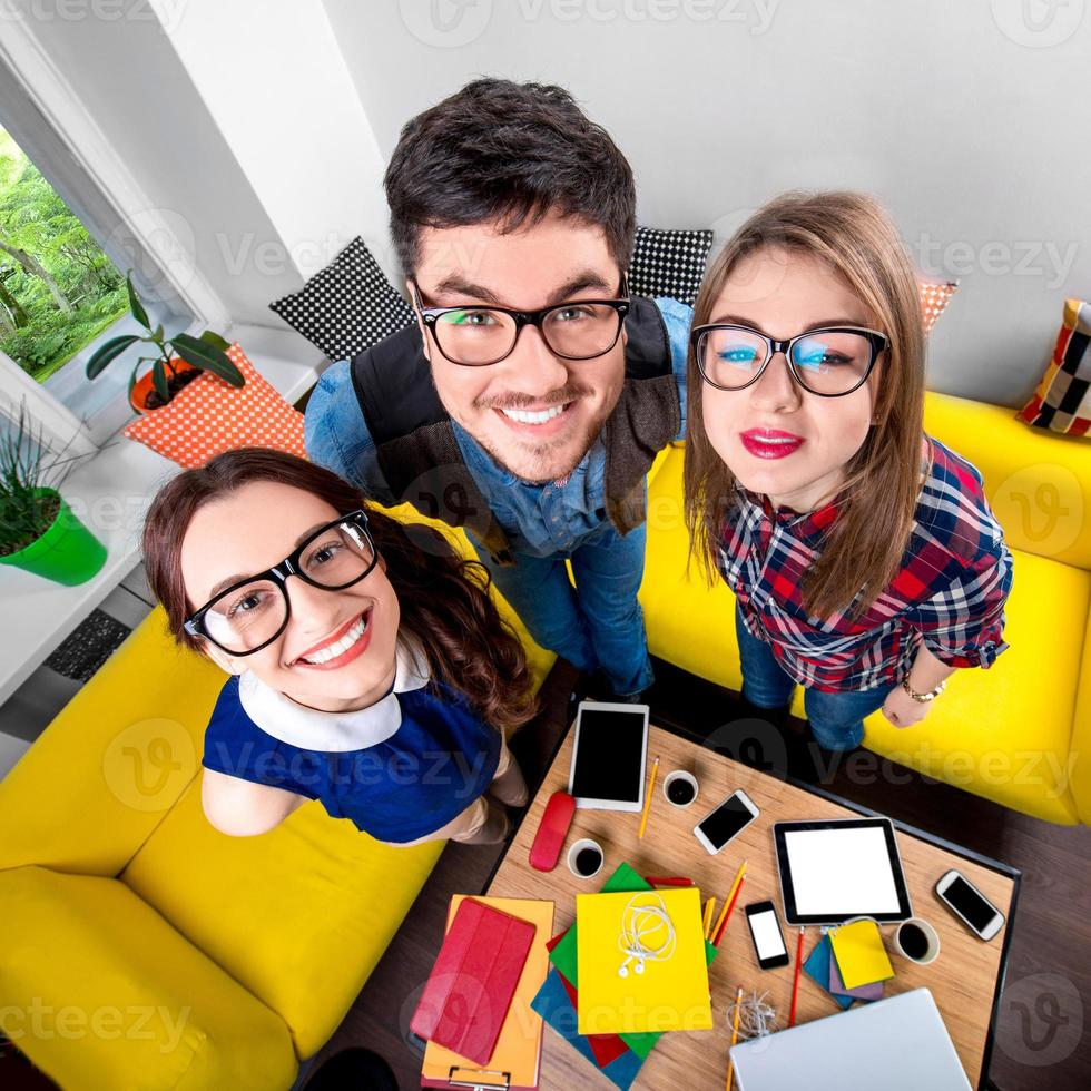 Three funny nerds together photo