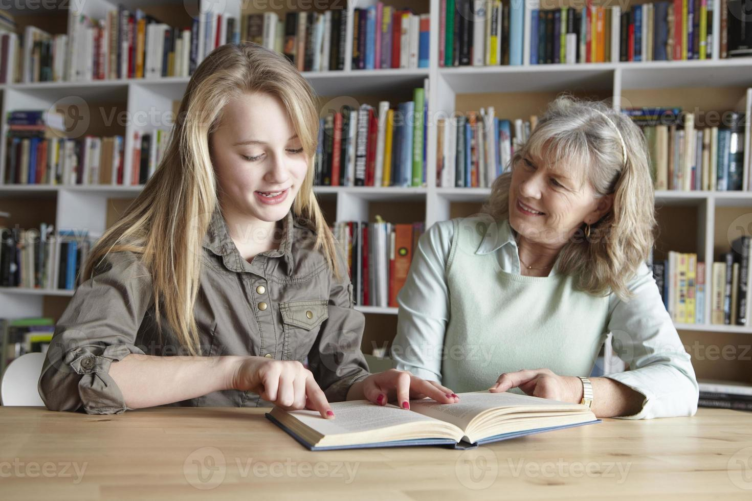 Woman and granddaughter reading together photo