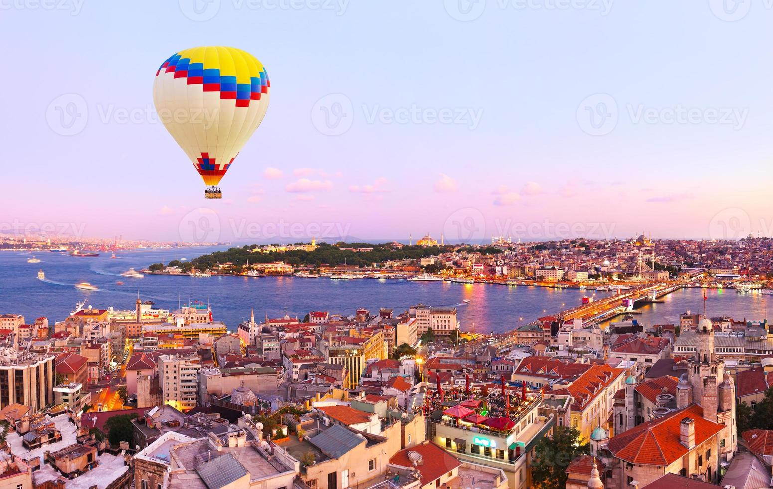 Hot air balloon over Istanbul sunset photo