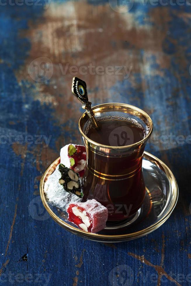 Turkish tea and delights photo