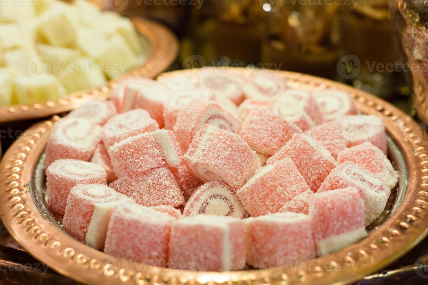 Variety of turkish delight and dried fruit photo