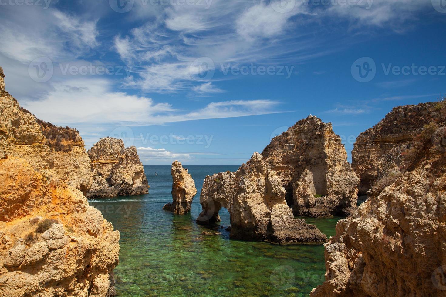 Famous cliffs of Ponta de Piedade, Lagos, Algarve, Portugal photo